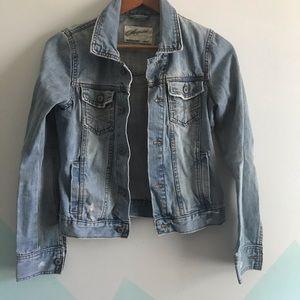 Aeropostale distressed denim jean jacket sz s
